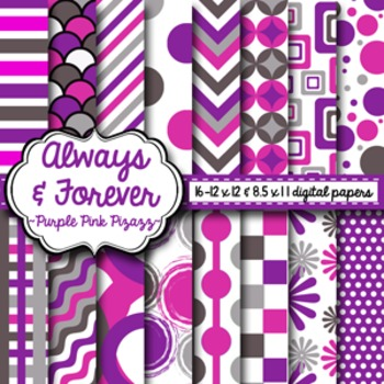 Digital Paper Purple Pink Pizazz
