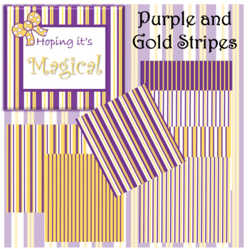 Digital Paper Purple and Gold Stripes
