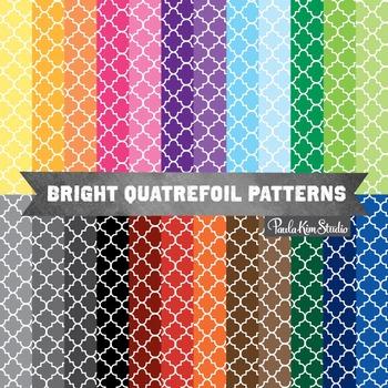 Quatrefoil Pattern Rainbow Digital Paper