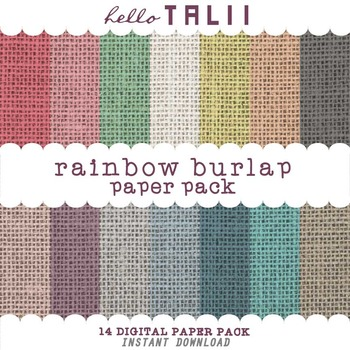 Digital Paper: Rainbow Burlap