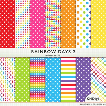 "Digital Paper - ""Rainbow Days 2 ""  Bright Colors"