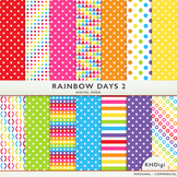 "Digital Paper - ""Rainbow Days 2 ""  Bright Colors"