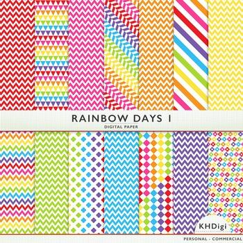 "Digital Paper - ""Rainbow Days ""  Bright Colors"