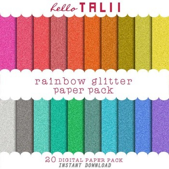 Digital Paper: Rainbow Glitter Textures