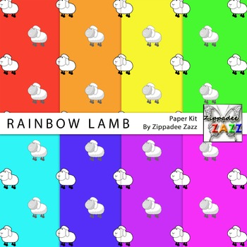 Rainbow Lamb Spring Easter Digital Paper or Backgrounds