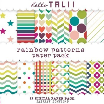 Digital Paper: Rainbow Patterns