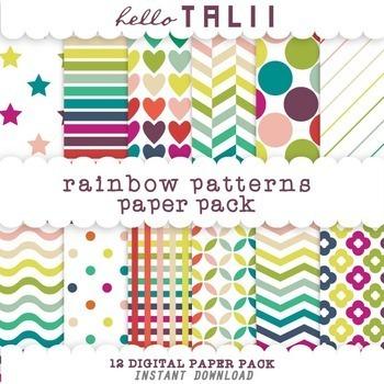 Digital Paper: Rainbow Patterns