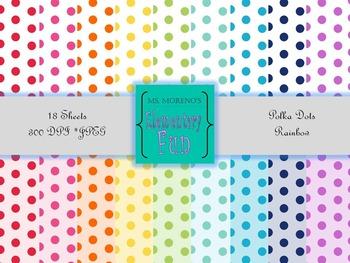 Digital Paper Rainbow Polka Dots