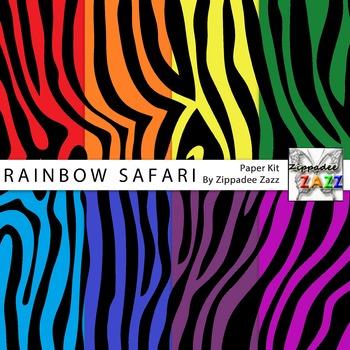 Rainbow Safari Zebra Stripes Digital Paper or Backgrounds