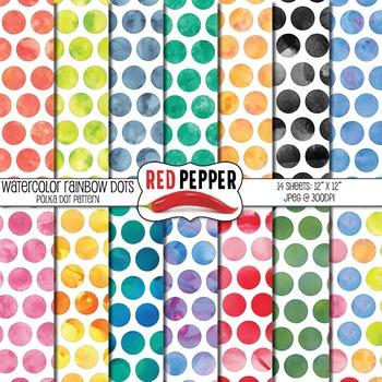 Digital Paper - WaterColor Rainbow Polka Dots