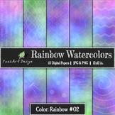 Digital Paper | Rainbow Watercolors #02 {PaezArtDesign}