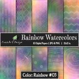 Digital Paper | Rainbow Watercolors #03 {PaezArtDesign}