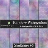 Digital Paper | Rainbow Watercolors #04 {PaezArtDesign}