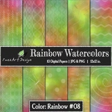 Digital Paper | Rainbow Watercolors #08 {PaezArtDesign}