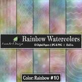 Digital Paper | Rainbow Watercolors #10 {PaezArtDesign}