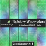 Digital Paper | Rainbow Watercolors #11 {PaezArtDesign}