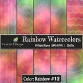 Digital Paper | Rainbow Watercolors #12 {PaezArtDesign}