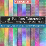 Digital Paper | Rainbow Watercolors BUNDLE {PaezArtDesign}