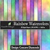 Digital Paper | Rainbow Watercolors: Concave Diamonds {Pae