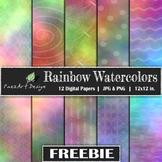 Digital Paper | Rainbow Watercolors FREEBIE {PaezArtDesign}