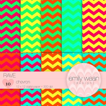 Rave - Digital Paper - Chevron Background
