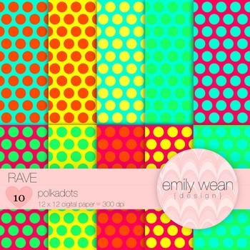 Rave - Digital Paper - Polkadots Background