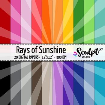 Sunburst Digital Paper ~ Twenty Colors