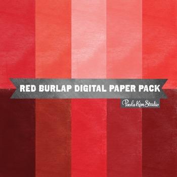 Digital Paper - Red Burlap