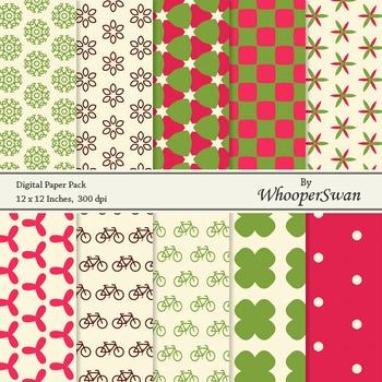 Digital Paper - Red Green Vintage