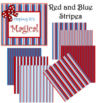 Digital Paper Red and Blue Stripes