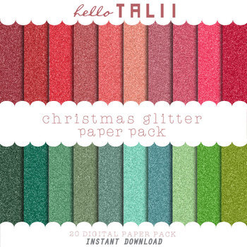 Digital Paper: Red and Green Glitter