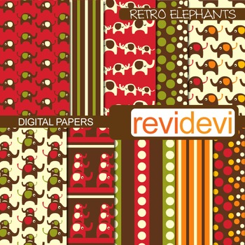 Digital Paper Retro Elephant (printable papers, background)