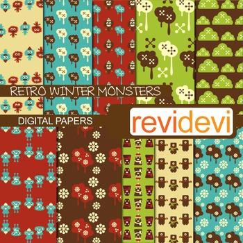 Digital Paper Retro Winter Monsters (teacher resource) background