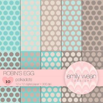 Robin's Egg - Digital Paper - Polkadots Background