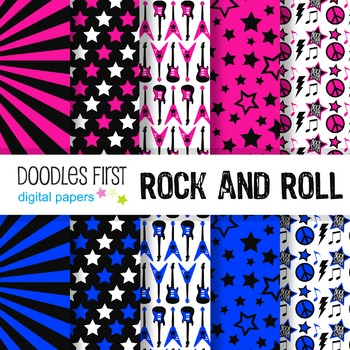 Digital Paper - Rock n Roll great for Classroom art projects