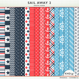 "Digital Paper - ""Sail Away 2""  Blue & Red Nautical Themed"