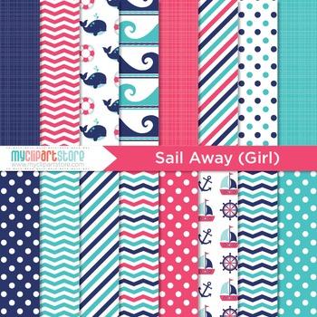 Digital Paper - Sail Away (girl)