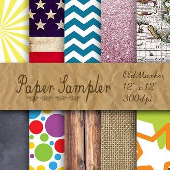 Digital Paper Sampler - 10 Different Papers - 12inx12in