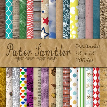 Digital Paper Sampler - 30 Different Papers - 12inx12in
