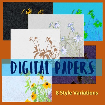 Digital Paper:  Stylized Daisies