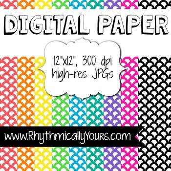 Digital Paper - Scallopped Patterns
