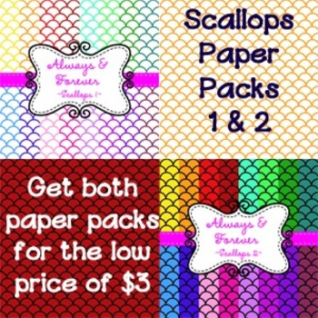 Digital Paper Scallops Packs 1 & 2