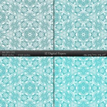 Digital Paper Scrap Book  12 X 12 + 8.5 X 11 A4 Journal Paper Abstract Floral