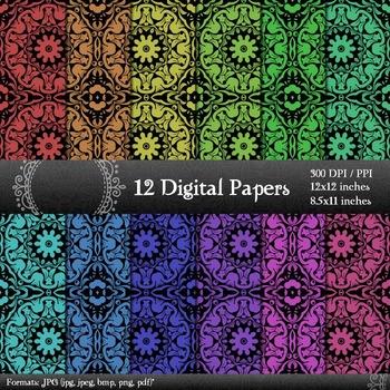 Digital Paper Scrap Booking Album Damask Card Scrapbook Clipart Sheet Jpg A4 Art