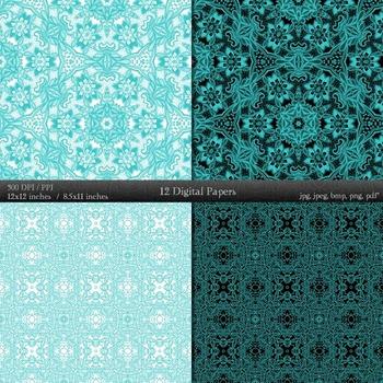 Digital Paper Scrap Booking Mandala Scrapbooking Henna Variety Textile Abstract