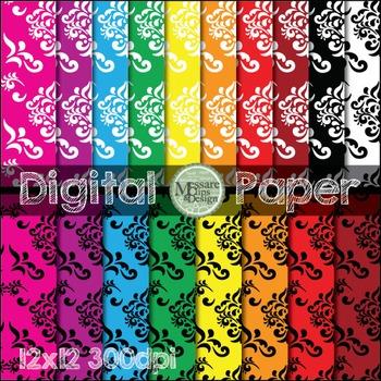 Digital Paper- Scrapbook Damask Pattern {Messare Clips and Design}
