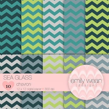Sea Glass - Digital Paper - Chevron