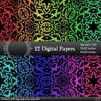 Digital Paper Seamless Jpg Page Layout Sheet Ornate Corner A4 Scrapbooking Retro