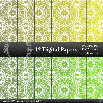 Digital Paper Seamless Making Layout Piecing Retro Collag Jpg Damask Damascus A4