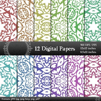Digital Paper Seamless Pattern Card Texture Set Premade Art Embellishment Corner